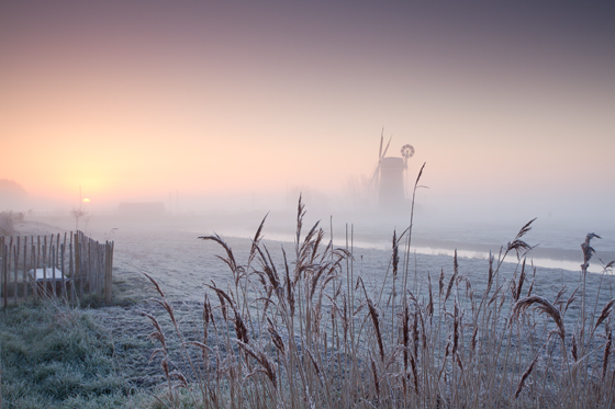 Horsey Windmill on a frosty morning